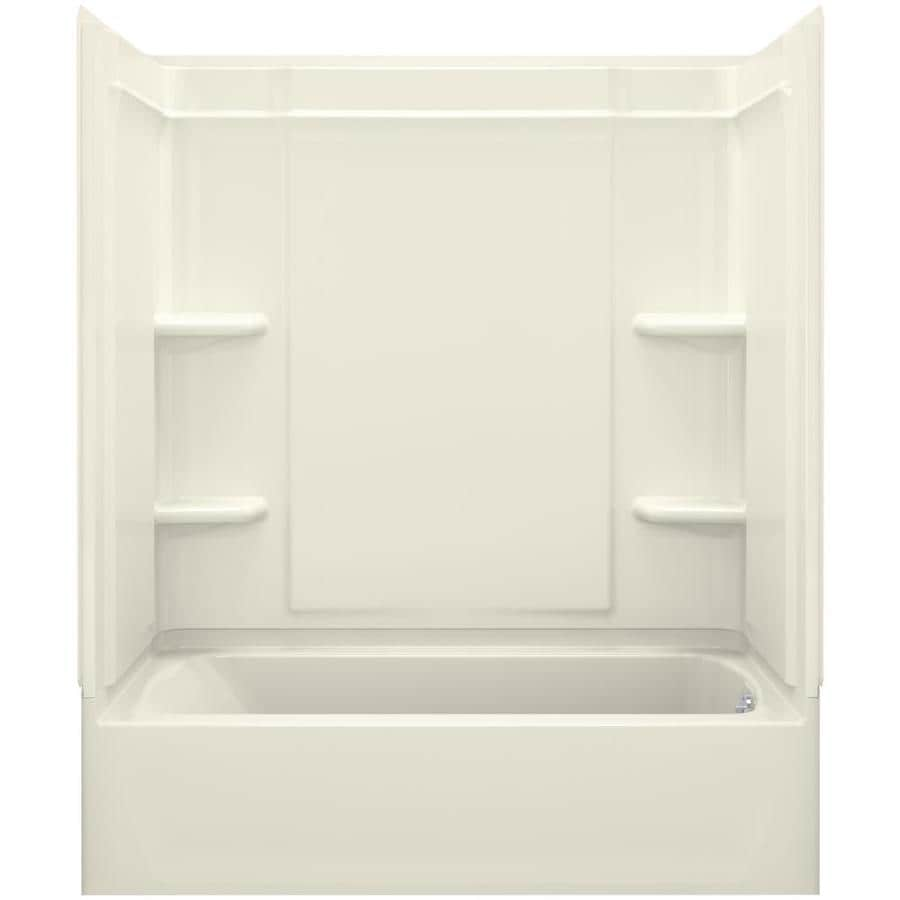 Sterling Ensemble Biscuit Vikrell Wall and Floor 4-Piece Alcove Shower Kit with Bathtub (Common: 60-in x 30-in; Actual: 73-in x 60.25-in x 31.25-in)