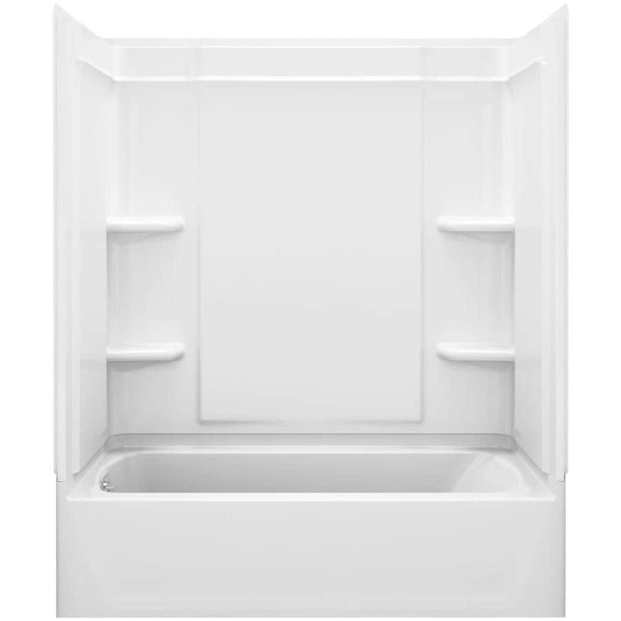 Sterling Ensemble White Vikrell Wall Vikrell Floor 4-Piece Alcove Shower Kit with Bathtub (Common: 60-in x 30-in; Actual: 73-in x 60.25-in x 31.25-in)