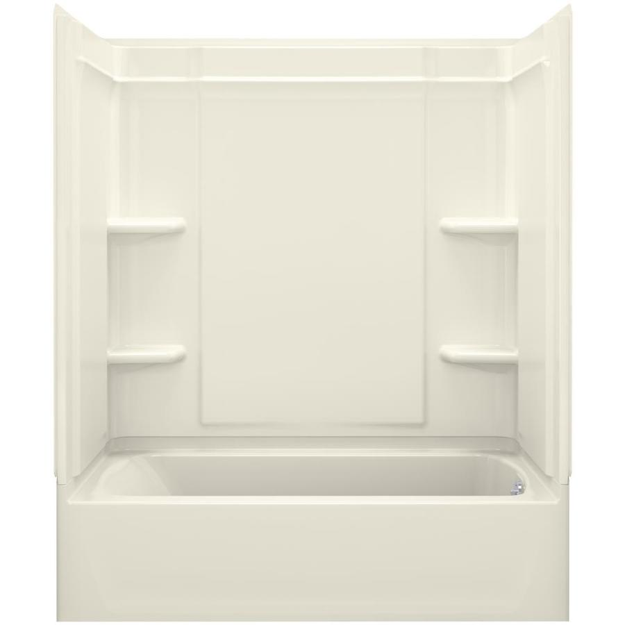 Sterling Ensemble Biscuit Vikrell Wall and Floor 4-Piece Alcove Shower Kit with Bathtub (Common: 60-in x 32-in; Actual: 78.25-in x 60.25-in x 33.25-in)