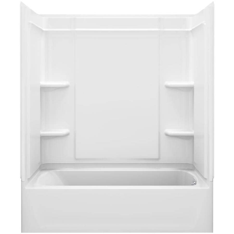 Sterling Ensemble White Vikrell Wall and Floor 4-Piece Alcove Shower Kit with Bathtub (Common: 60-in x 32-in; Actual: 76.25-in x 60.25-in x 33.25-in)