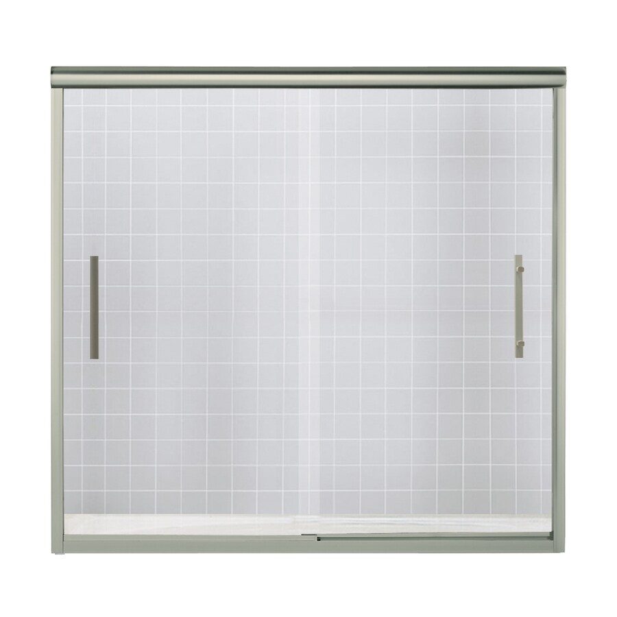 Sterling Finesse 56.625-in to 59.625-in W x 55.5-in H Brushed Nickel Sliding Shower Door
