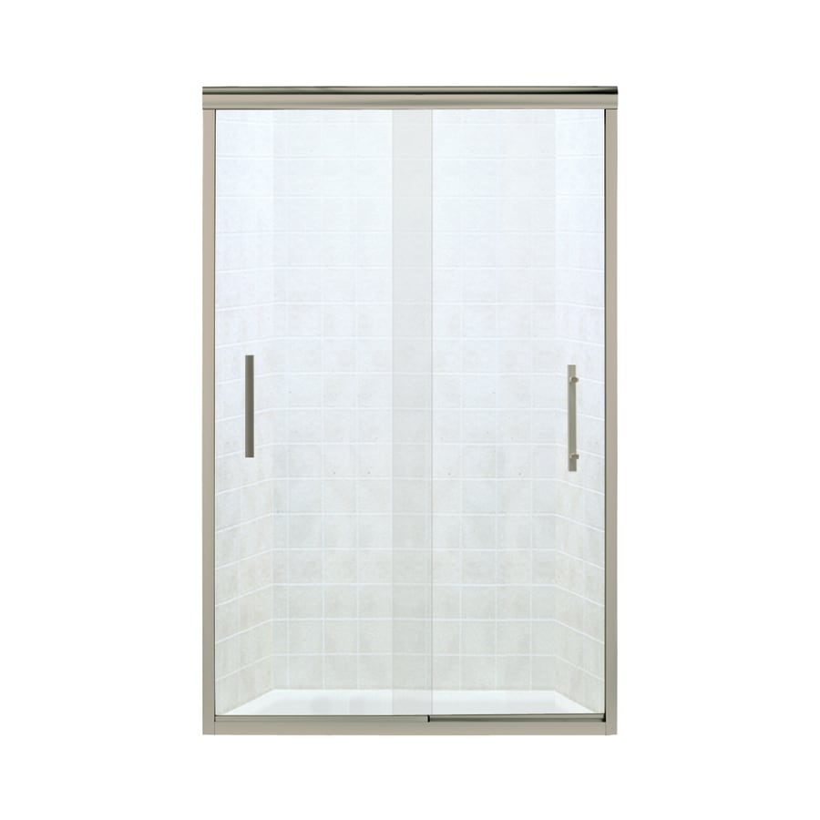 Sterling Finesse 44.625-in to 47.625-in W Frameless Brushed Nickel Sliding Shower Door