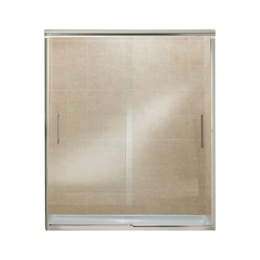 Sterling Finesse 56.625-in to 59.625-in W Frameless Brushed Nickel Sliding Shower Door