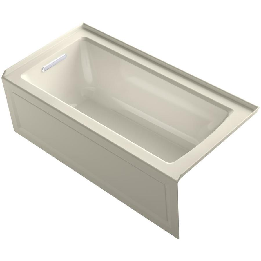 KOHLER Archer 60-in Almond Acrylic Alcove Whirlpool Tub with Left-Hand Drain