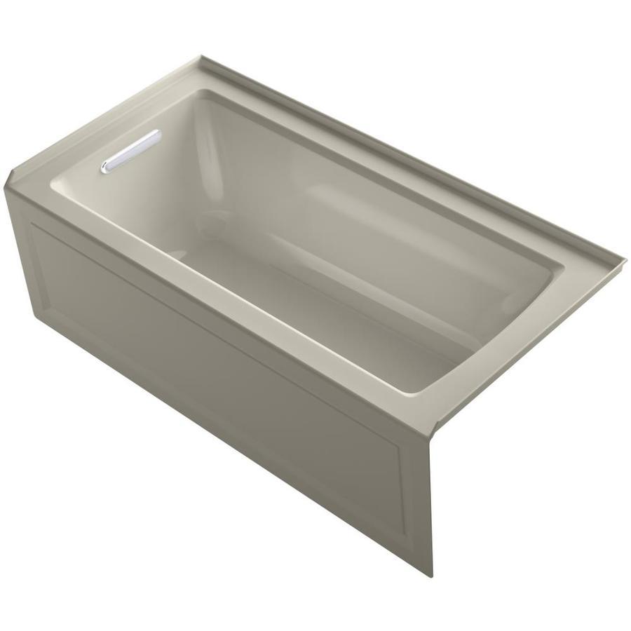 KOHLER Archer 60-in Sandbar Acrylic Alcove Whirlpool Tub with Left-Hand Drain