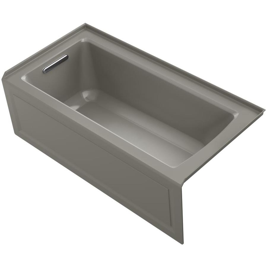 KOHLER Archer 60-in Cashmere Acrylic Alcove Whirlpool Tub with Left-Hand Drain