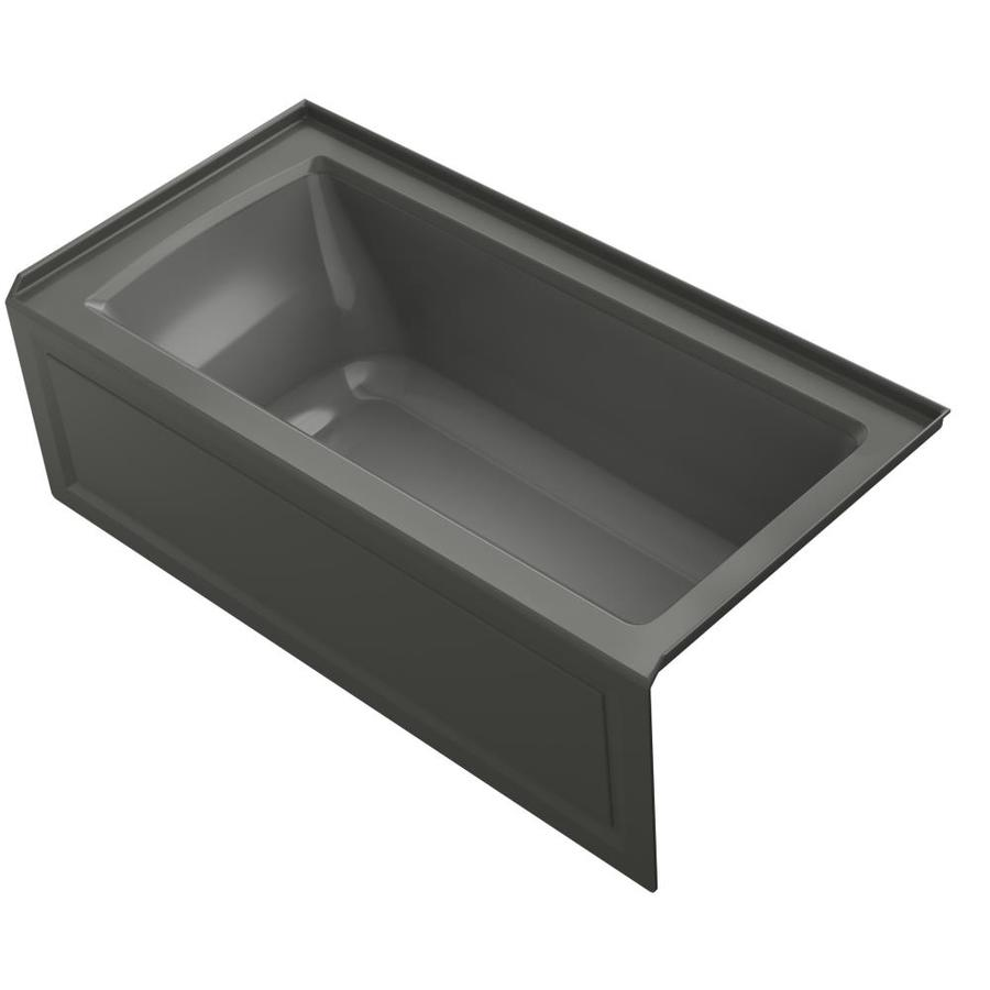 KOHLER Archer Thunder Grey Acrylic Rectangular Alcove Whirlpool Tub (Common: 30-in x 60-in; Actual: 20.25-in x 30-in)