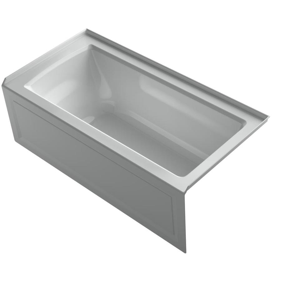 KOHLER Archer 60-in Ice Grey Acrylic Alcove Whirlpool Tub with Right-Hand Drain