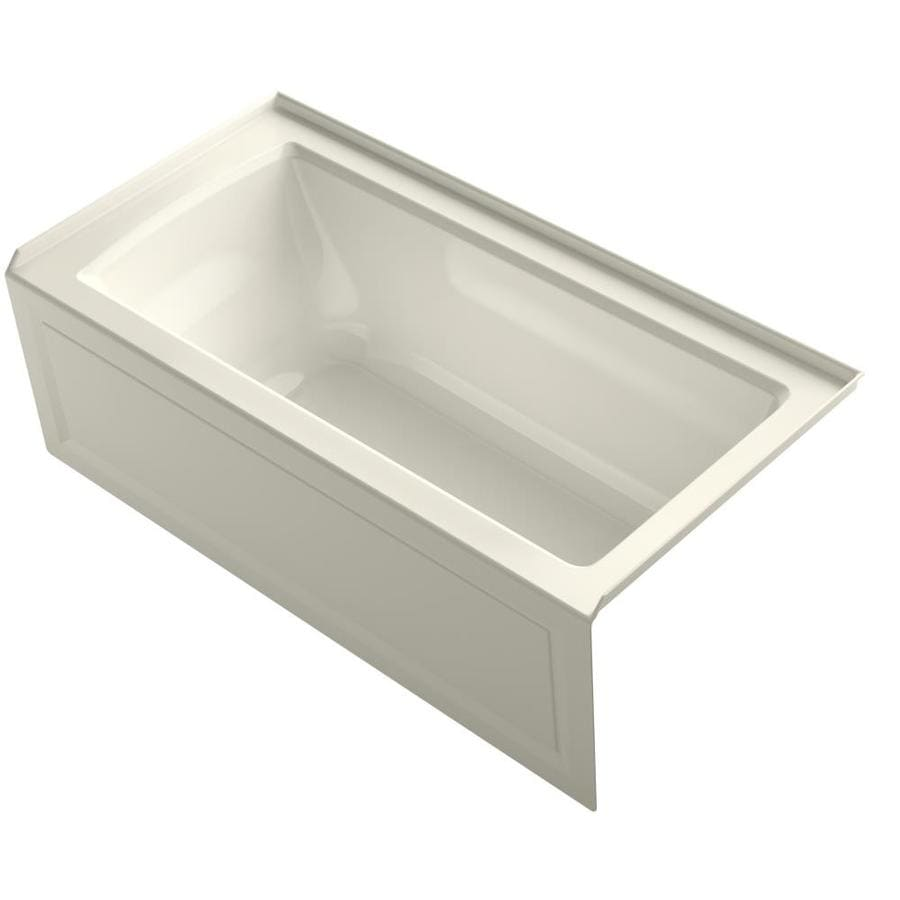 KOHLER Archer 60-in Biscuit Acrylic Alcove Whirlpool Tub with Right-Hand Drain