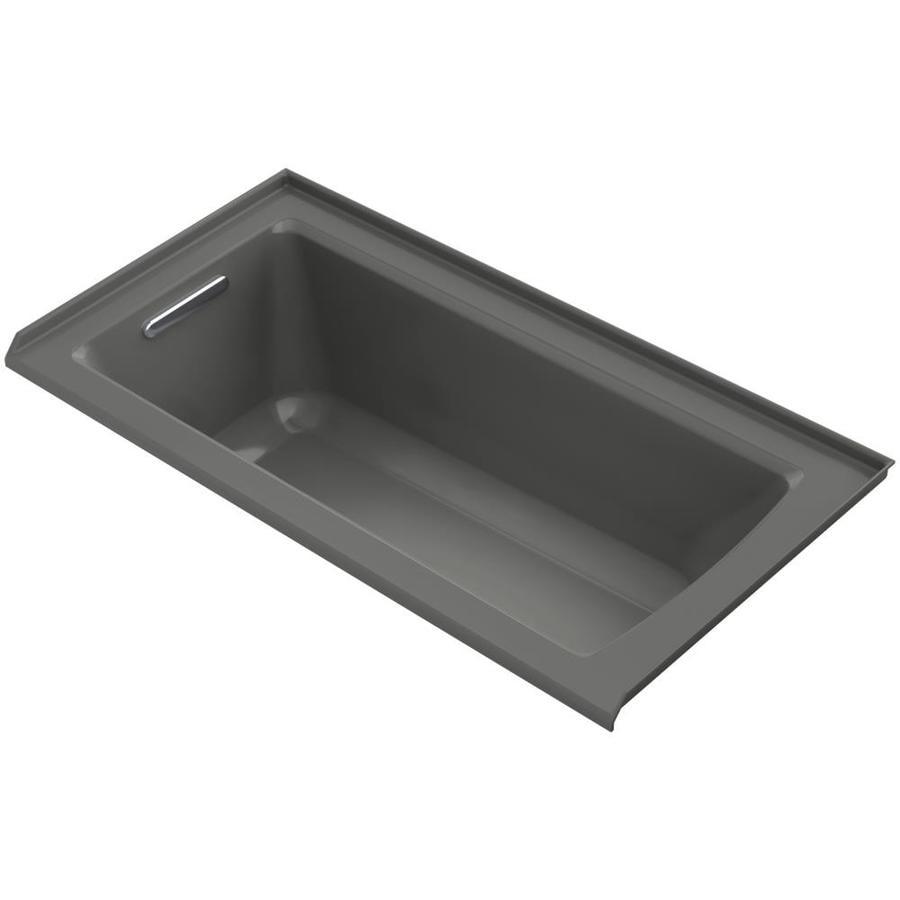 KOHLER Archer 60-in Thunder Grey Acrylic Alcove Bathtub with Left-Hand Drain