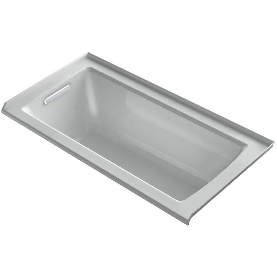 KOHLER Archer Ice Grey Acrylic Rectangular Alcove Bathtub with Left-Hand Drain (Common: 30-in x 60-in; Actual: 20-in x 30-in x 60-in)