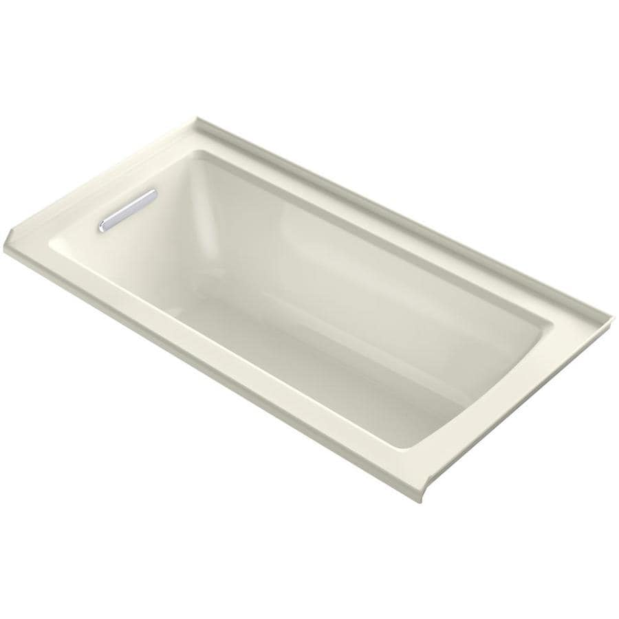 KOHLER Archer Biscuit Acrylic Rectangular Alcove Bathtub with Left-Hand Drain (Common: 30-in x 60-in; Actual: 20-in x 30-in x 60-in)