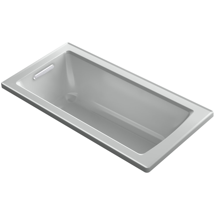 KOHLER Archer Ice Grey Acrylic Rectangular Drop-in Bathtub with Reversible Drain (Common: 30-in x 60-in; Actual: 19-in x 30-in x 60-in)