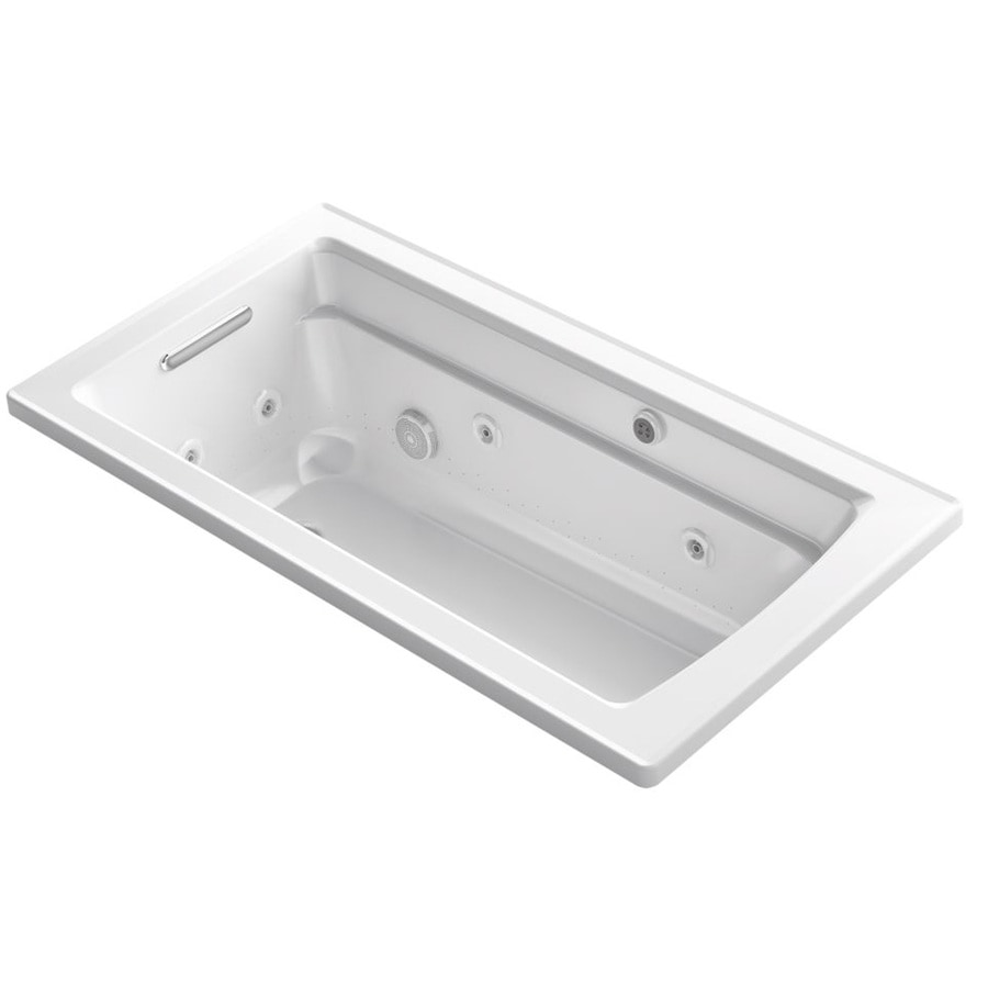 KOHLER Archer 60-in L x 32-in W x 19-in H White Acrylic Rectangular Drop-in Air Bath