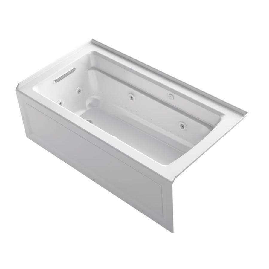 KOHLER Archer 60-in L x 32-in W x 20.25-in H White Acrylic Rectangular Alcove Air Bath