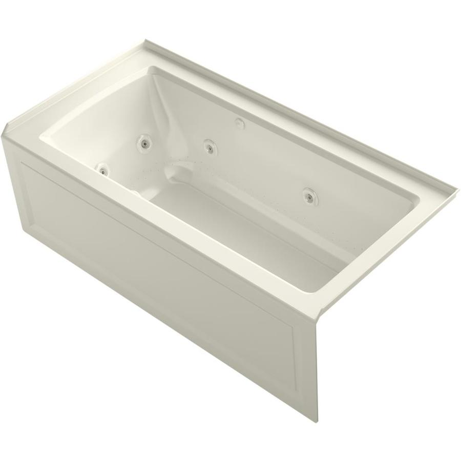 Kohler Archer 60 In Biscuit Acrylic Rectangular Right Hand