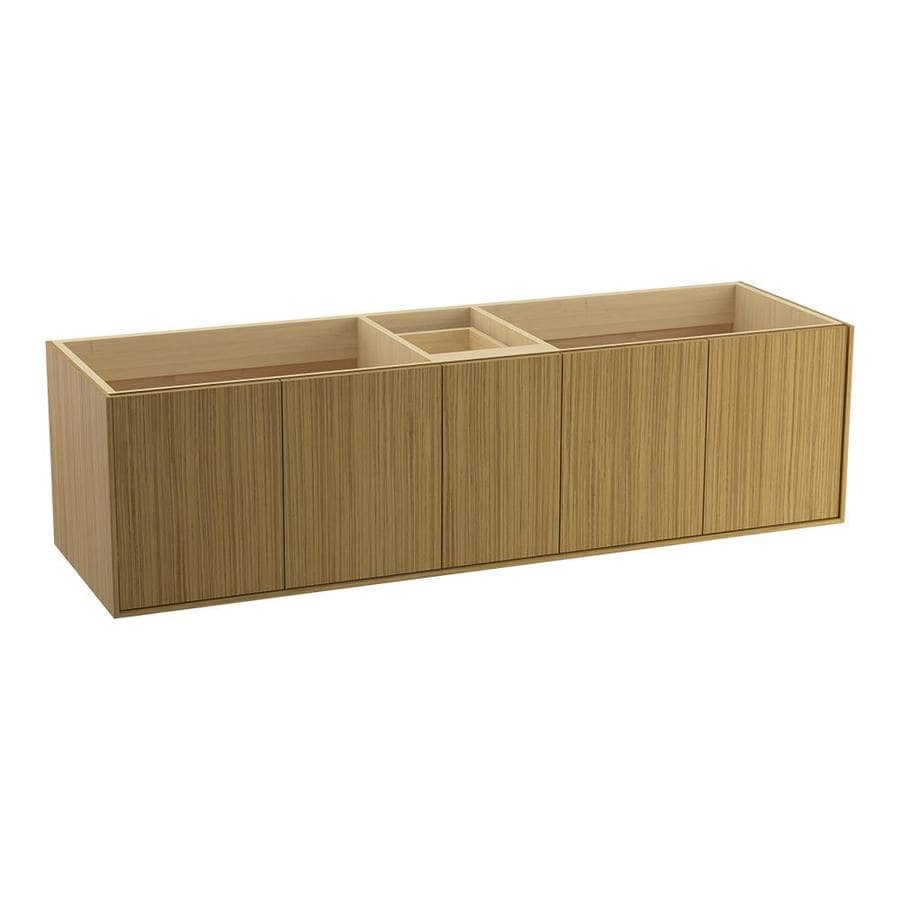 KOHLER Jute Wall-mount Corduroy Teak Bathroom Vanity (Common: 72-in x 22-in; Actual: 72-in x 21.5-in)