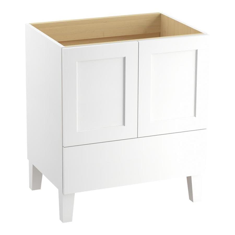 Shop kohler poplin floor mount linen white 30 in x traditional bathroom vanity at for 30 x 21 bathroom vanity white