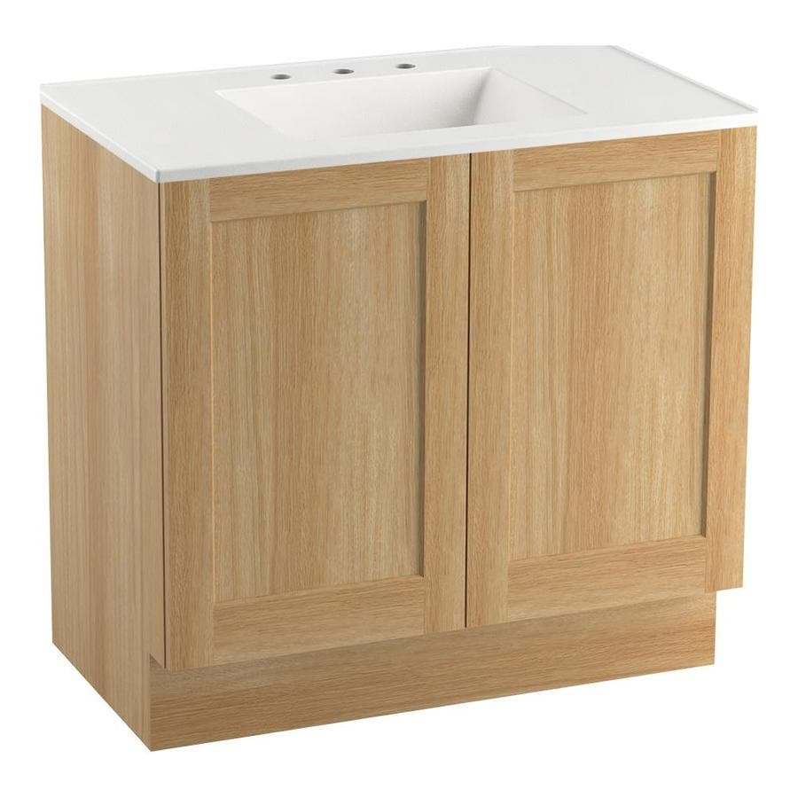 KOHLER Poplin Khaki White Oak Bathroom Vanity (Common: 36-in x 22-in; Actual: 36-in x 21.87-in)