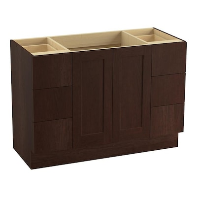 kohler poplin 48-in cherry tweed bathroom vanity cabinet