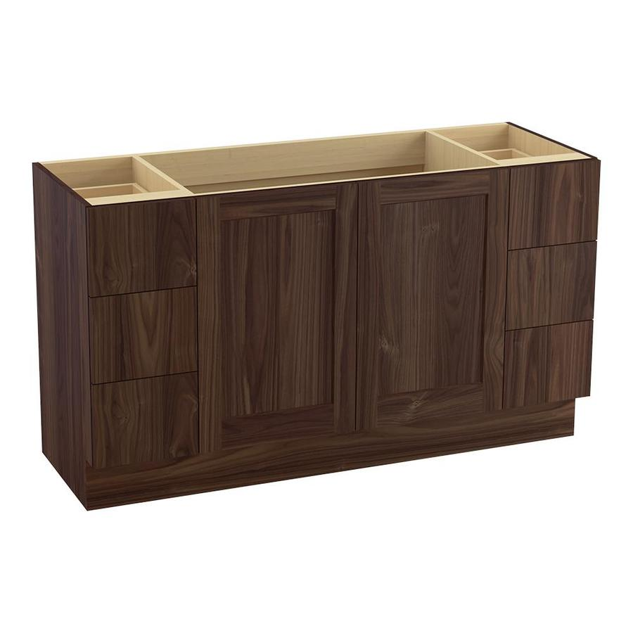 KOHLER Poplin Terry Walnut (Common: 60-in x 22-in) Traditional Bathroom Vanity (Actual: 60-in x 21.875-in)