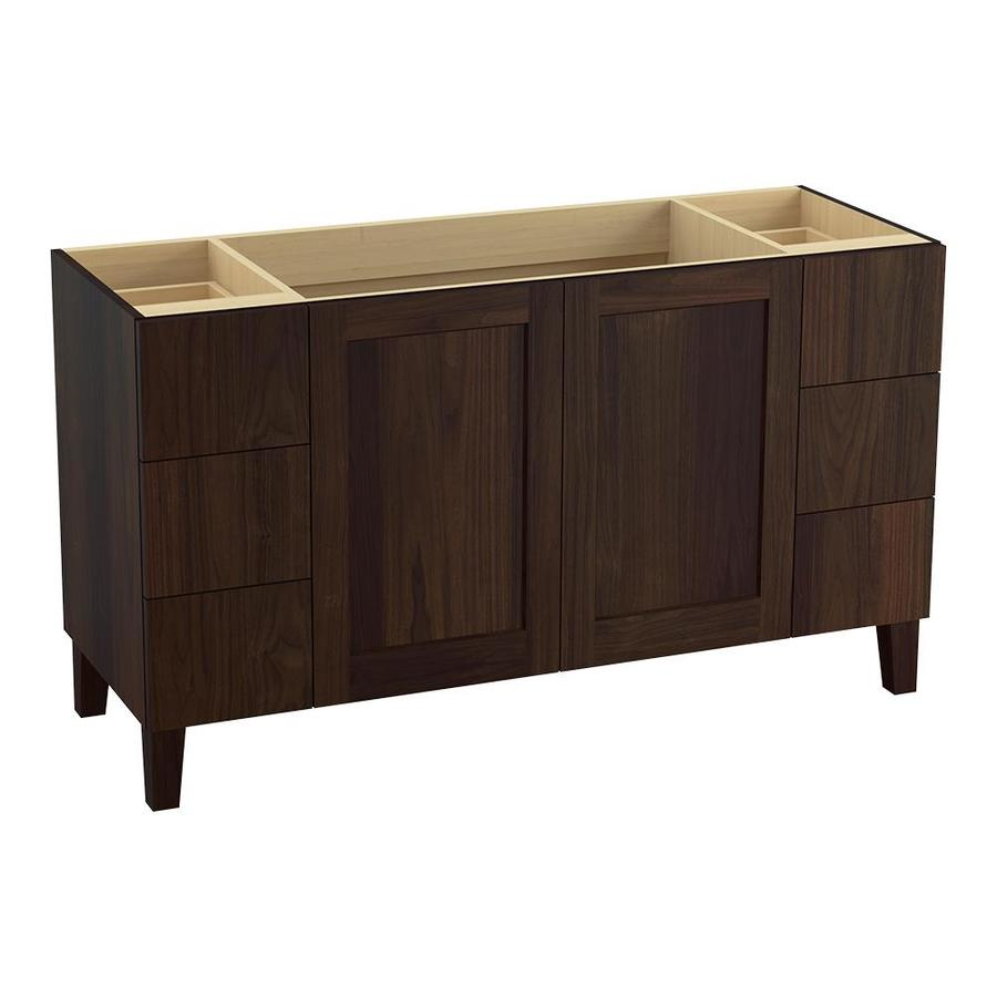 KOHLER Poplin Ramie Walnut Bathroom Vanity (Common: 60-in x 22-in; Actual: 60-in x 21.87-in)
