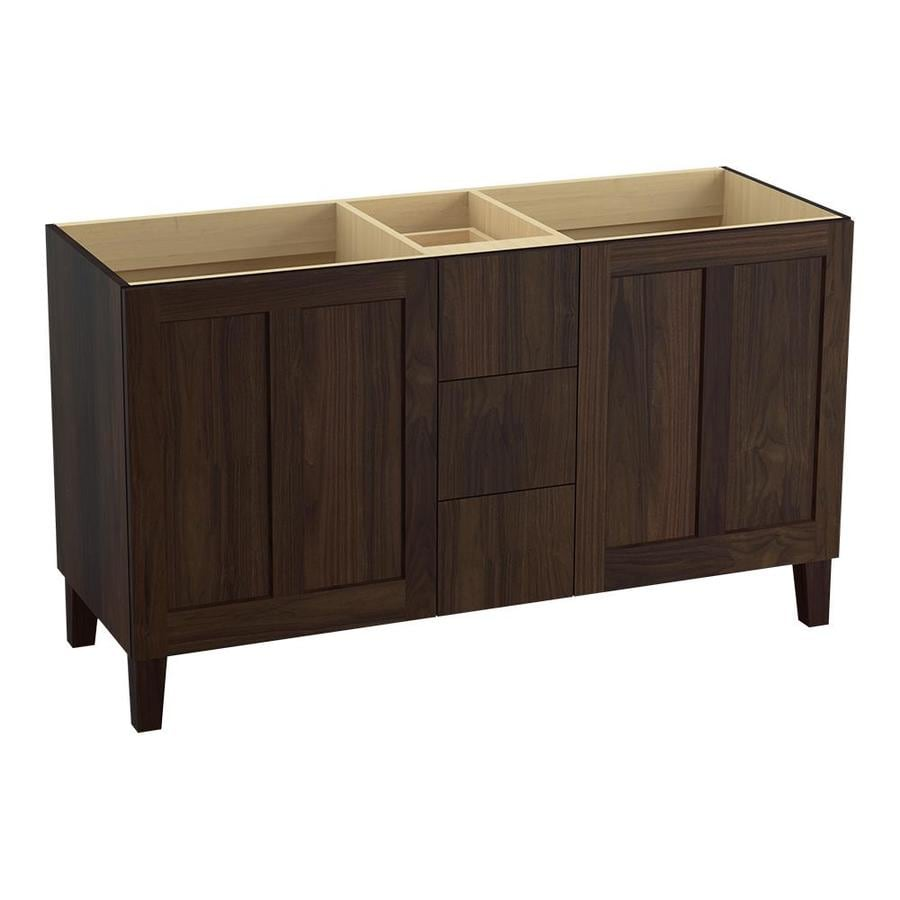KOHLER Poplin Ramie Walnut 60-in Traditional Bathroom Vanity