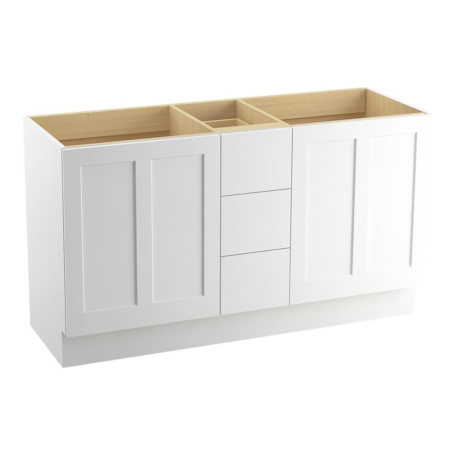 KOHLER Poplin Linen White (Common: 60-in x 22-in) Traditional Bathroom Vanity (Actual: 60-in x 21.875-in)