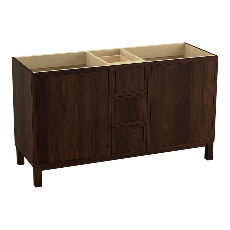 KOHLER Jacquard Ramie Walnut 60-in Traditional Bathroom Vanity