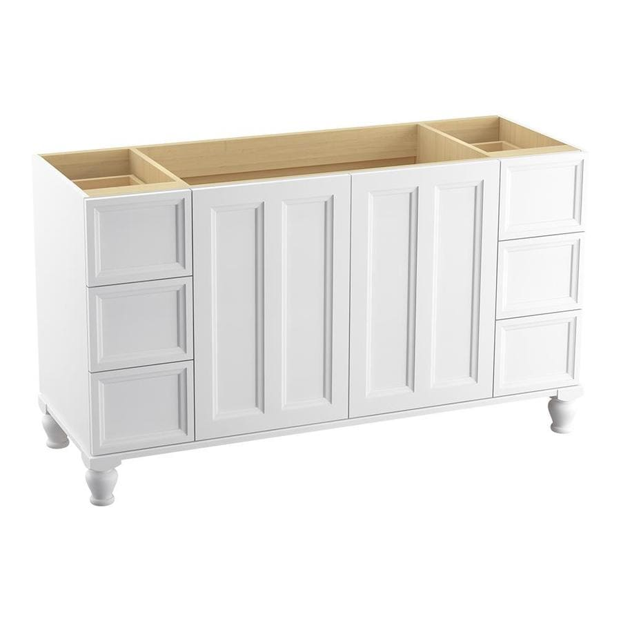 KOHLER Damask Linen White (Common: 60-in x 22-in) Traditional Bathroom Vanity (Actual: 60-in x 21.875-in)