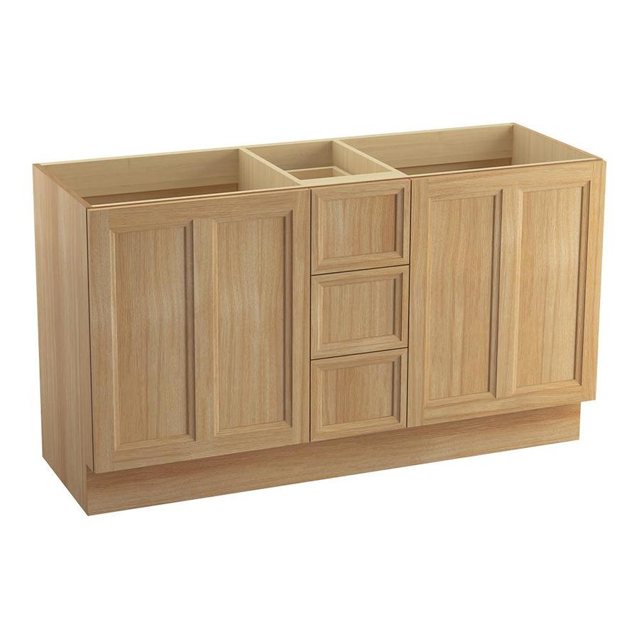 KOHLER Damask Khaki White Oak 60-in Traditional Bathroom Vanity