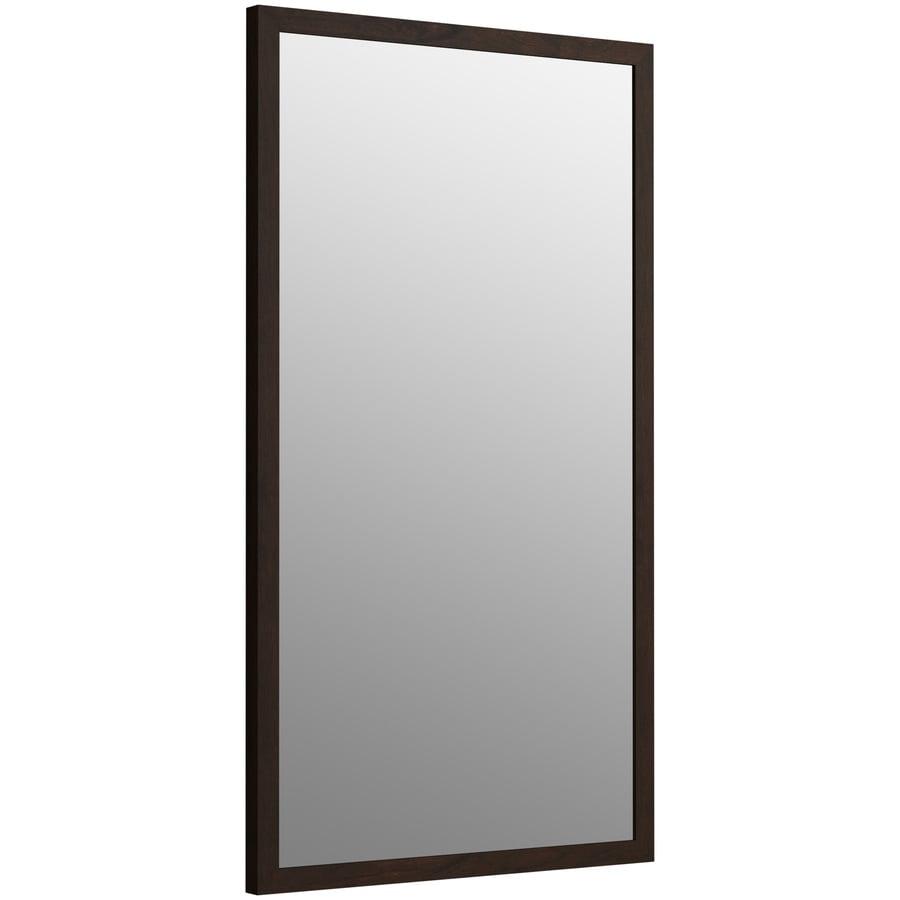 KOHLER Jacquard 19.5-in W x 34.5-in H Claret Suede Rectangular Bathroom Mirror