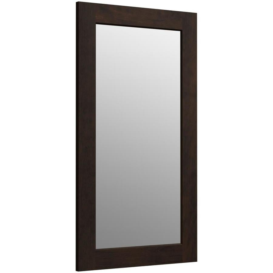 KOHLER Poplin 20.5-in W x 35.5-in H Claret Suede Rectangular Bathroom Mirror