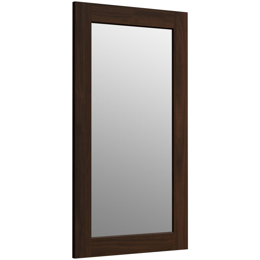 KOHLER Poplin 20.5-in W x 35.5-in H Ramie Walnut Rectangular Bathroom Mirror