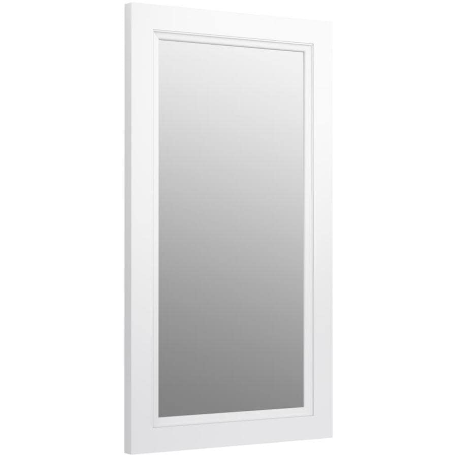 KOHLER Damask 21.75-in W x 36.75-in H Linen White Rectangular Bathroom Mirror