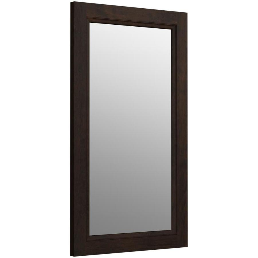 KOHLER Damask 21.75-in W x 36.75-in H Claret Suede Rectangular Bathroom Mirror
