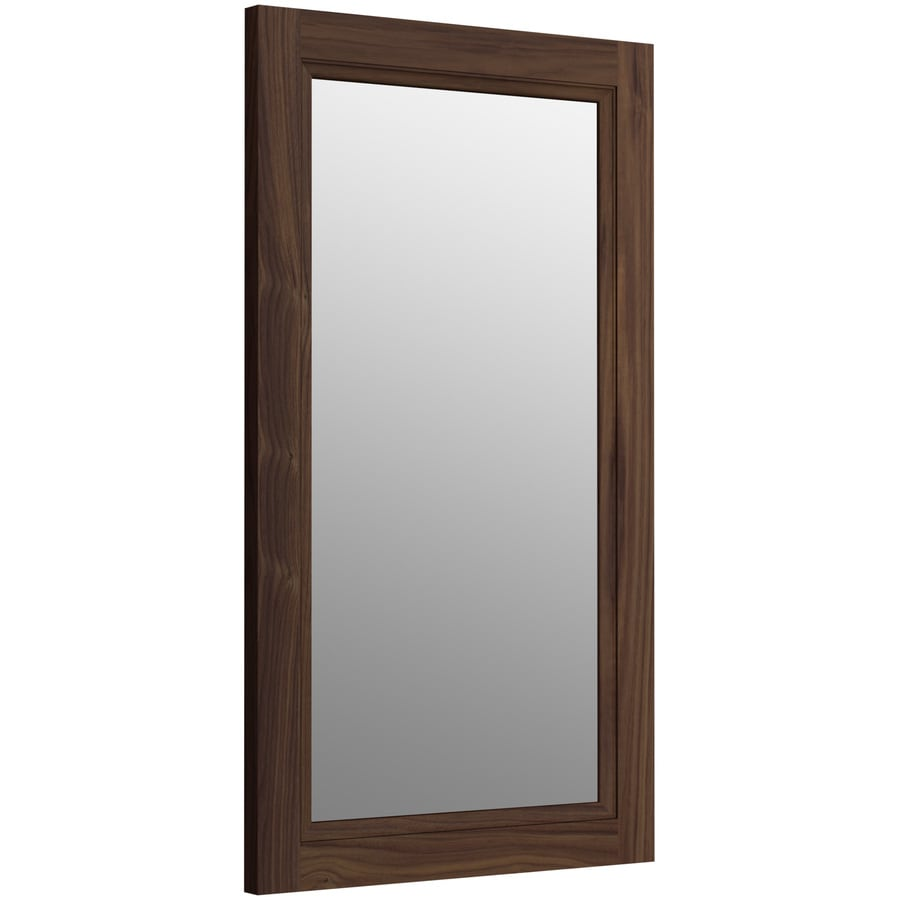 KOHLER Damask 21.75-in W x 36.75-in H Terry Walnut Rectangular Bathroom Mirror