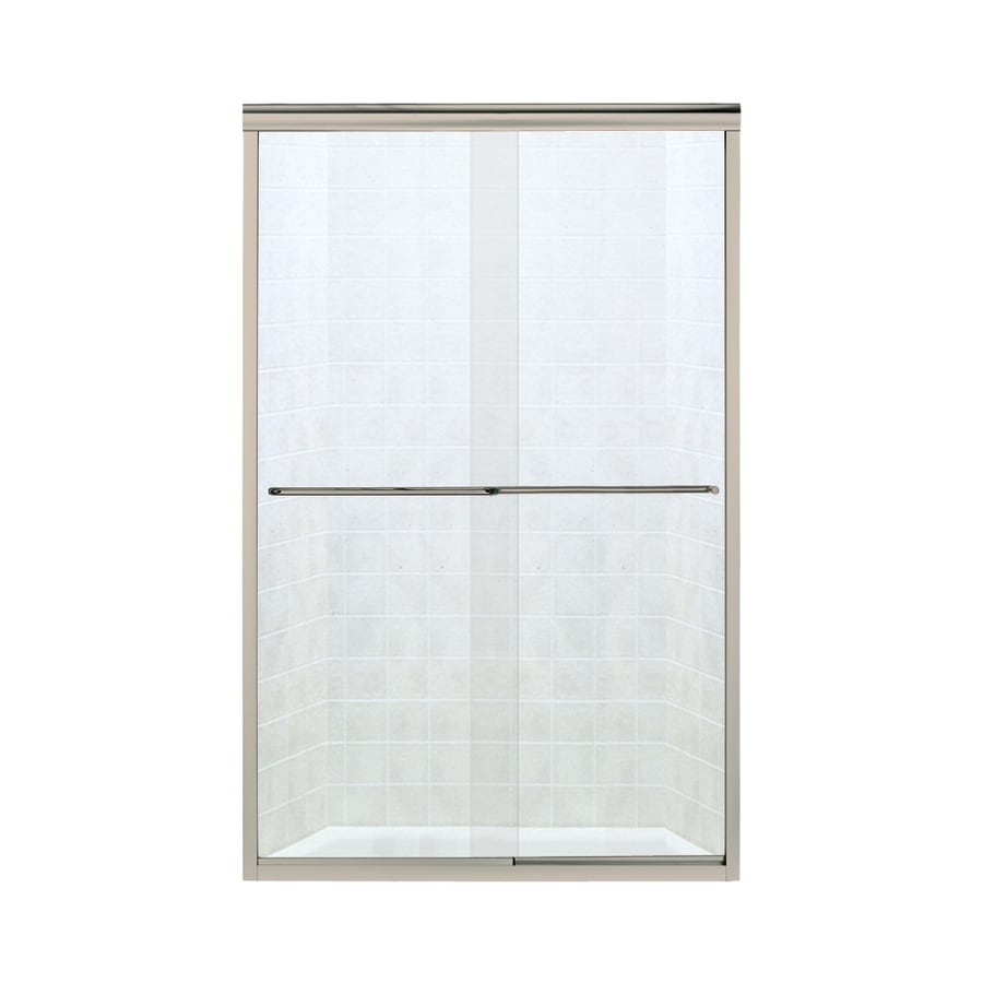 Sterling Finesse 44-in to 45.5000-in Frameless Brushed nickel Sliding Shower Door