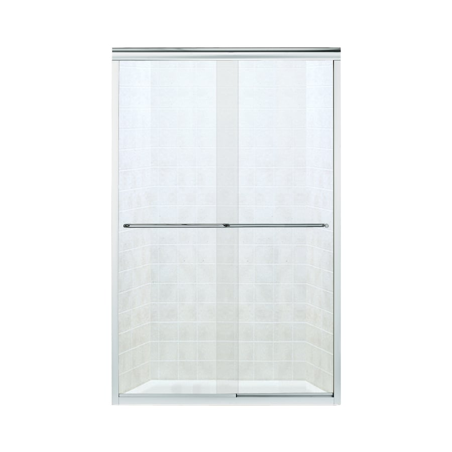 Sterling Finesse 44-in to 45.5-in W Frameless Silver Sliding Shower Door
