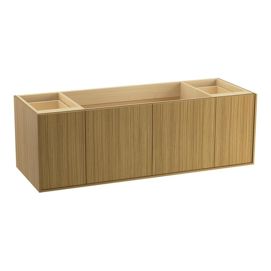 KOHLER Jute Wall-mount Corduroy Teak Bathroom Vanity (Common: 60-in x 22-in; Actual: 60-in x 21.5-in)
