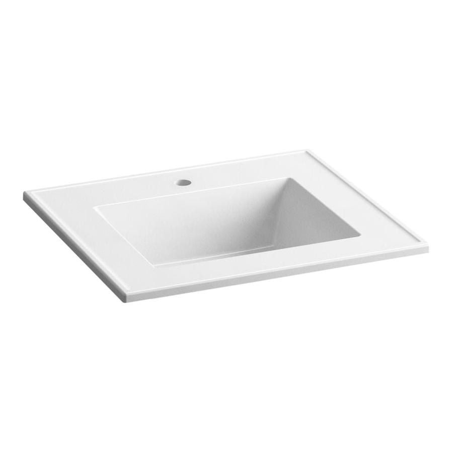 KOHLER Ceramic/Impressions White Impressions Vitreous China Integral Bathroom Vanity Top (Common: 25-in x 22-in; Actual: 25-in x 22.375-in)