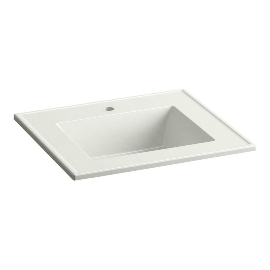KOHLER Ceramic/Impressions Dune Impressions Vitreous China Integral Bathroom Vanity Top (Common: 25-in x 22-in; Actual: 25-in x 22.375-in)