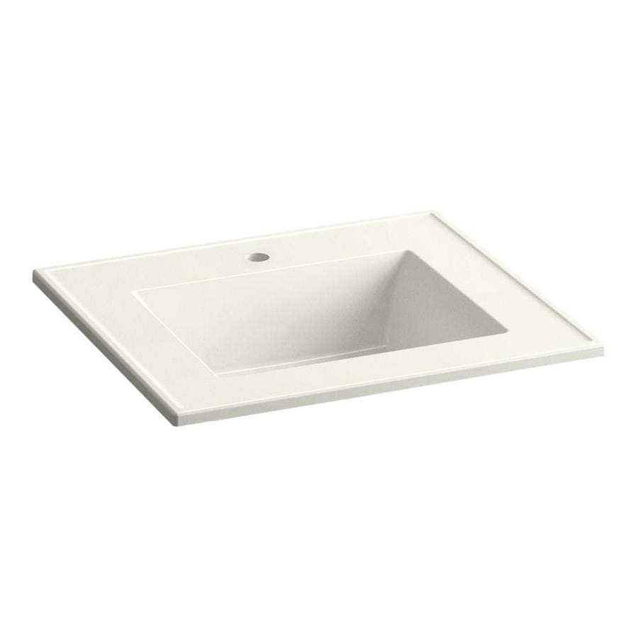 KOHLER Ceramic/Impressions Biscuit Impressions Vitreous China Integral Bathroom Vanity Top (Common: 25-in x 22-in; Actual: 25-in x 22.375-in)