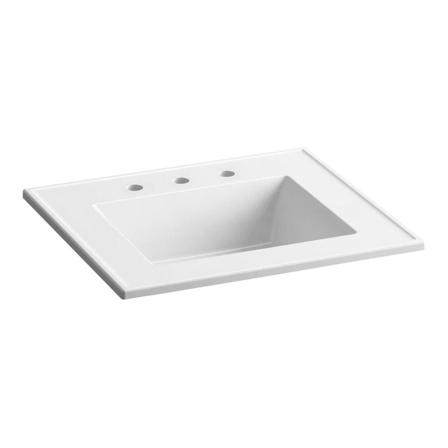 Kohler Ceramic Impressions 25 In White Impressions Vitreous China Single Sink Bathroom Vanity Top In The Bathroom Vanity Tops Department At Lowes Com