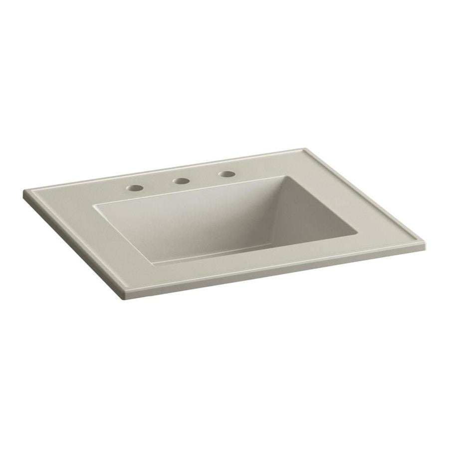 KOHLER Ceramic/Impressions Sandbar Impressions Vitreous China Integral Bathroom Vanity Top (Common: 25-in x 22-in; Actual: 25-in x 22.375-in)
