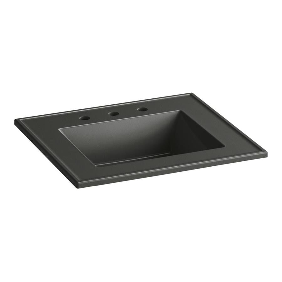 KOHLER Ceramic/Impressions Thunder Grey Impressions Vitreous China Integral Bathroom Vanity Top (Common: 25-in x 22-in; Actual: 25-in x 22.375-in)