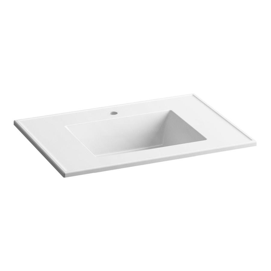 KOHLER Ceramic/Impressions White Impressions Vitreous China Integral Bathroom Vanity Top (Common: 31-in x 22-in; Actual: 31-in x 22.375-in)
