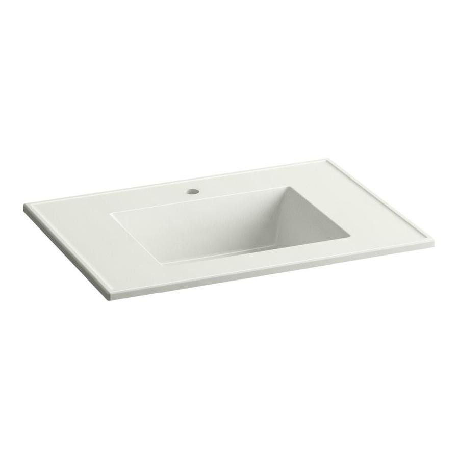 KOHLER Ceramic/Impressions Dune Impressions Vitreous China Integral Bathroom Vanity Top (Common: 31-in x 22-in; Actual: 31-in x 22.375-in)