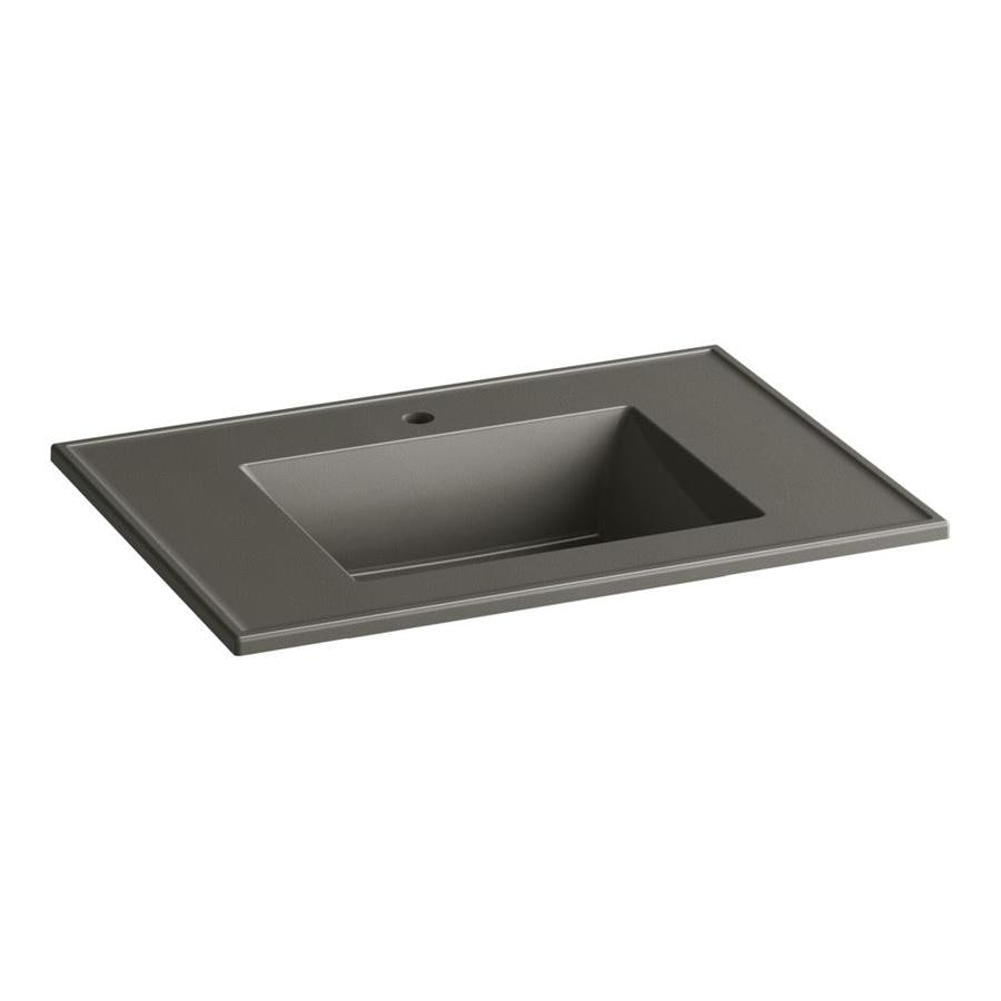 KOHLER Ceramic/Impressions Cashmere Impressions Vitreous China Integral Bathroom Vanity Top (Common: 31-in x 22-in; Actual: 31-in x 22.375-in)