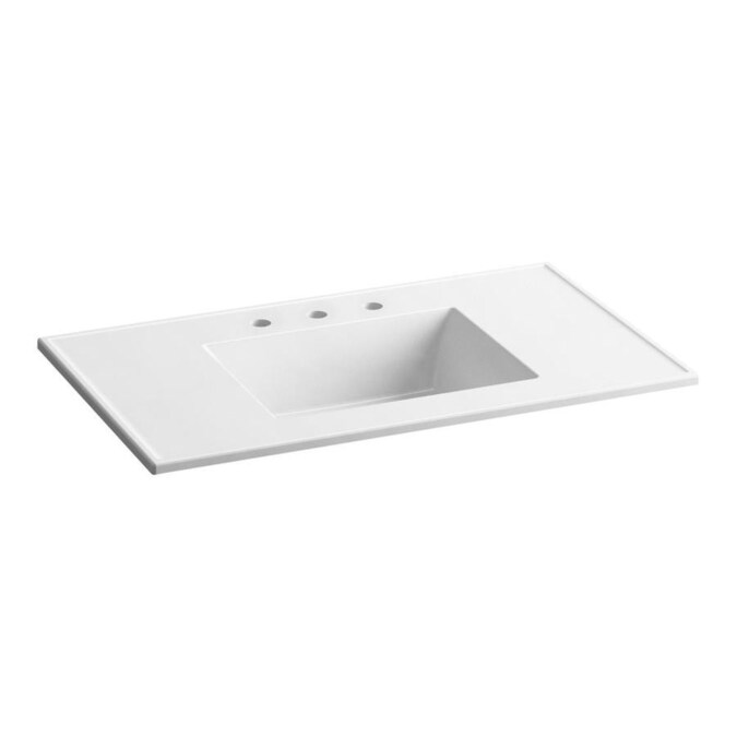 Kohler Ceramic Impressions 37 In White Impressions Vitreous China Single Sink Bathroom Vanity Top In The Bathroom Vanity Tops Department At Lowes Com